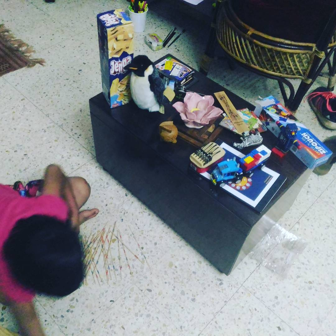 How do you keep a kid engaged? Use all your toys. babysitting my niece